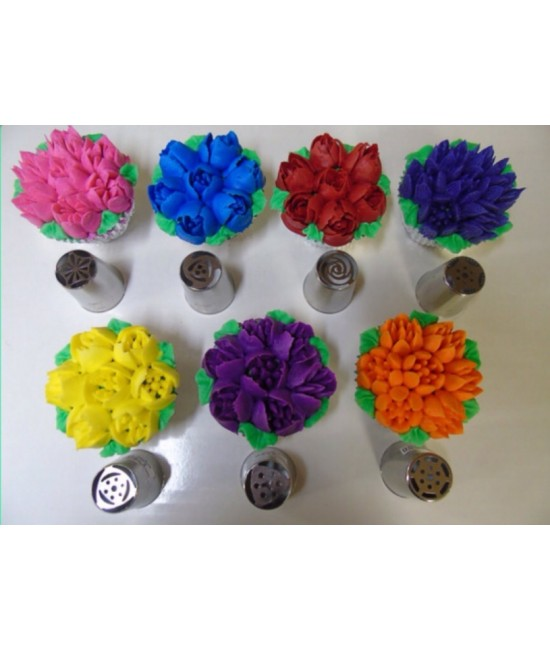 7 pcs Ateco Russian Flower Decorating Tips