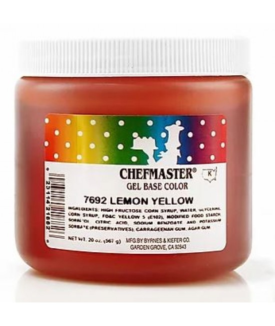 Chefmaster Lemon Yellow Gel Color 20 oz