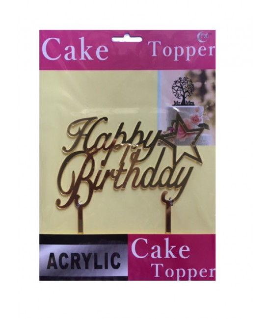 Happy Birthday with Star Acrylic Cake Topper