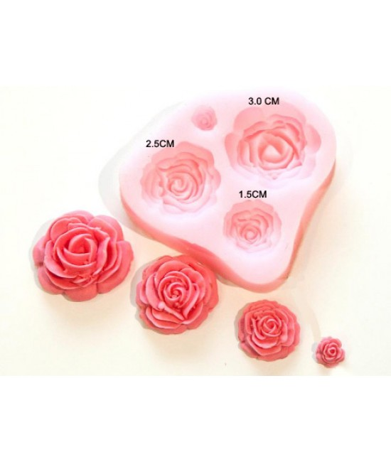 4 Size Roses Flower Mould