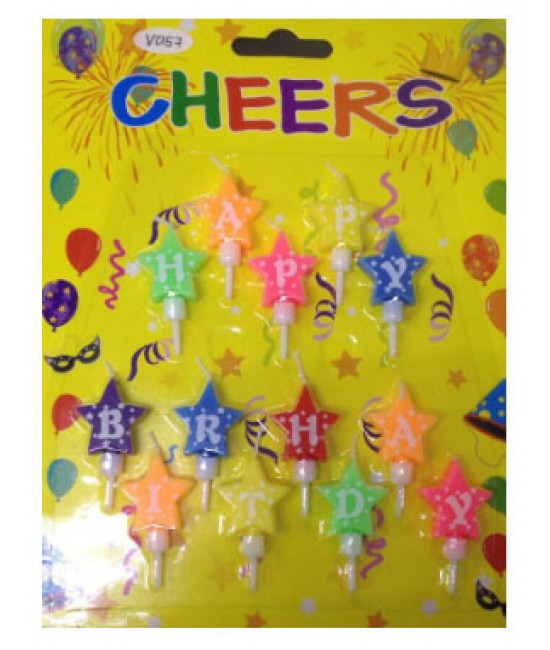 Star Shape Happy Birthday Candles