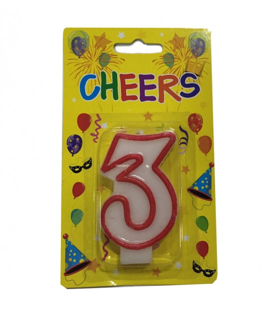 Number 3 Birthday Candle