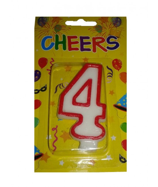 Number 4 Birthday Candle