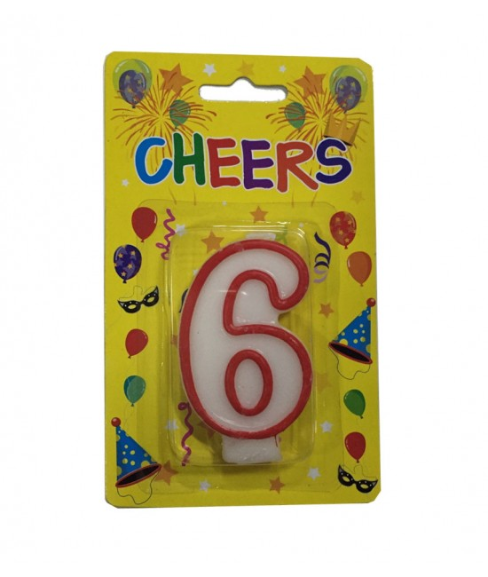 Number 6 Birthday Candle