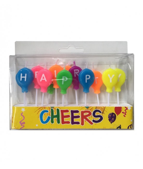 Neon Balloon Shape Happy Birthday Candle